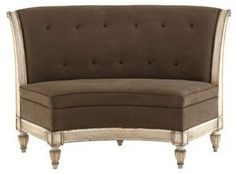 Curved Dining Banquette Bench | Nook Bench for round table...Old Hickory Tannery Micah Banquette ...