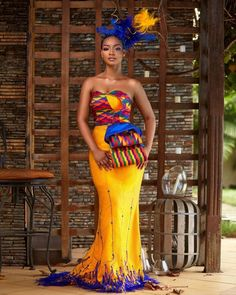 "Ghanian-based fashion designer, Sheelah Garbrah has been spinning heads on social media since the release of her ""Ohemaa"" collection of kente dress. African Wedding Attire, African Attire, African Wear, African Women, African Dress, Ghana Wedding Dress, African Theme, African Clothes, African Traditional Wedding Dress"