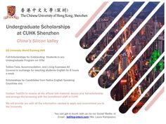 Come Study in China on a Full Scholarship! Undergraduate Scholarships, Study In China, Shenzhen China