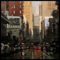 """Post Street Evening"" The Traditional Work of Jeremy Mann - Cityscapes- This link goes to the artists site. Fantasy Landscape, Urban Landscape, Landscape Art, Landscape Paintings, Oil Paintings, Original Paintings, Landscapes, Urban Painting, City Painting"