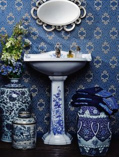 I would love a blue Powder Room like this!