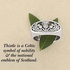 Sterling Oval Scottish Thistle Ring - Fashion Jewelry, Sterling, Gemstones, Pearls, Earrings, Necklaces, Rings & Bracelets