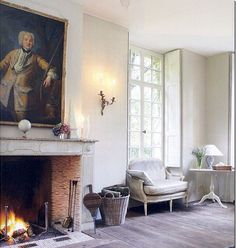 This Room is Perfect Inspiration for The current project: Love the architectural details, which make this Look like an authentic northern 18th Century lets say Hunting lodge- despite The fact that it is a new- built Home: The scale and height of The windows- perfection. simple oak plank flooring- ditto. clean Louis XVI fireplace. Elegant. Spare furnishings also very northern, Swedish, calming. Photo By @milieumag . @horschinteriors #keepitsimple #gustaviansk #swedish #flemishgustavian