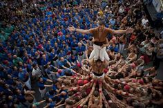 Gracia Quarter Festival, Barcelona, Spain - 20 Aug 2016 Castellers (people who build human towers in... - ZUMA Wire/REX/Shutterstock