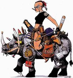 Jamie Hewlett - Apart from being the fantastic artist behind Tank Girl and the Gorillaz he is married to the very beautiful Emma de Caunes from Mr Bean's Holiday. Tank Girl Comic, Comic Character, Character Design, Jamie Hewlett Art, Bd Comics, Lv Bags, Girl Photos, Art Girl, Graphic Design