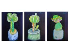 "Saatchi Art is pleased to offer the painting, ""Original Oil on Canvas, Triptych Baby Cactus by Mohamed Abusal,"" by Zawyeh Gallery. Original Painting: Oil on Canvas. Baby Cactus, Triptych, Palestine, Cacti, Oil On Canvas, Saatchi Art, Original Paintings, Bloom, Fruit"