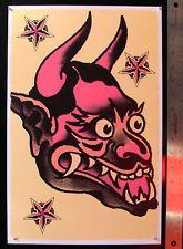 SJP049 Japanese Demon Devil vintage Sailor Jerry Traditional style flash print