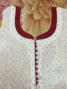 30 Stylish Potli button neck designs for kurtis and salwar suits Chudithar Neck Designs, Neck Designs For Suits, Sleeves Designs For Dresses, Neckline Designs, Blouse Neck Designs, Sleeve Designs, Churidhar Designs, Salwar Suit Neck Designs, Kurta Neck Design