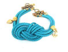 Turquoise Nautical bracelet Sailor knot multiple cord by Daniblu, $18.00