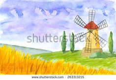 Old windmill. Watercolor. Vector