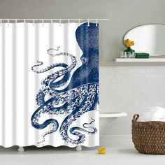 $18.42 Waterproof Mouldproof Octopus Printed Shower Curtain - Blue And White - M