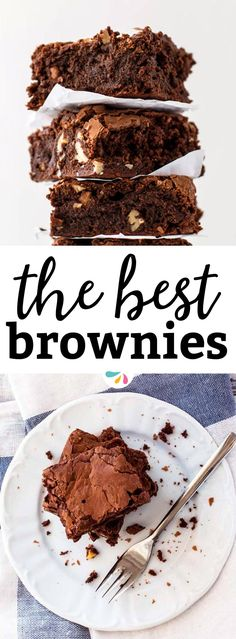 Looking for the best homemade brownies recipe? This from scratch recipe is everything: Fudgy, chewy and with that awesome brownie crackle on top! You've come to the right place for the most amazing Valentine's Day dessert! This recipe sports a simple and easy batter full of chocolate, chopped pecans and two kinds of chocolate chips. The rich cocoa taste in these is unbelievable and they turn out as gooey and moist as possible. | #chocolate #valentinesday #dessert #baking #recipe