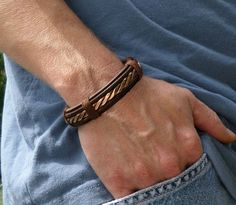 Men's Leather and Copper Bracelet Men's by ColeTaylorDesigns