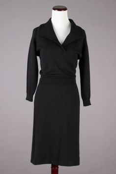 50s-60s VTG Black Pure Wool Sweater Dress - Made In Italy. Size S - $59 via eBay