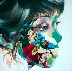 Adding a superhero comic book mash-up to her distinctive portraiture, French artist Sandra Chevrier has been creating bold paintings for a few years. The style of the artworks look like collages of newspaper. Comic Book Superheroes, Comic Books, Sandro, Sandra Chevrier, Gcse Art, Canadian Artists, French Artists, Art Museum, Art Gallery