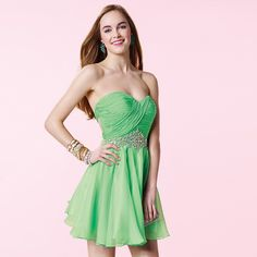 Fresh Looking Beading Backless A-Line Sweetheart Pleat Crystal Short 8th grade graduation dresses 2017  Homecoming Chiffon