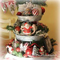 galvanized tiered tray christmas centerpiece how to, chalkboard paint, christmas decorations, mason jars, repurposing upcycling, seasonal holiday decor