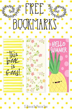 Free Printable Bookmarks for Organizing Your Planner, and Marking Your Favorite Books : )
