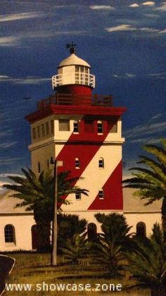 Mouille Point is an affluent suburb of Cape Town. The lighthouse is an eye-catching landmark, with it's bright red and white stripes.  Built in 1824, it was the first solidly constructed lighthouse built on the South African coastline.  This original oil painting is not framed.