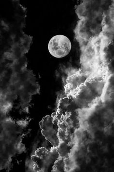 moon black white clouds