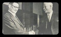 Dr.E.G.Jansen, destydse goeweneur-generaal, wens dr.Verwoerd geluk nadat hy ingesweer is as Eerste Minister September 1958.