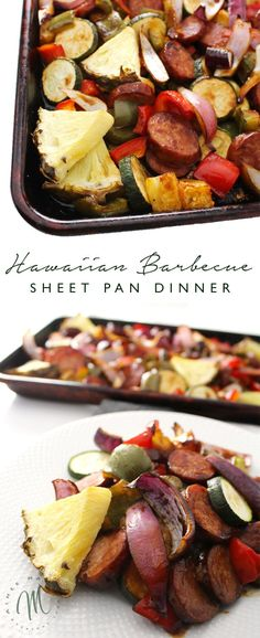 Hawaiian Barbecue Sheet Pan Dinner This simple recipe for Hawaiian Sheet Pan Dinner is perfect for busy weeknights or those evenings when you're tired and don't know what to cook. One Pan Meals, Easy Meals, Paleo Dinner, Dinner Recipes, Simple Recipes For Dinner, Dessert Recipes, Weeknight Recipes, Cena Paleo, One Pan Dinner