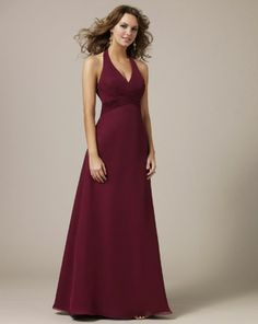 Cheap V-shaped Halter Empire Chiffon Bridesmaid Dresses Shop Online For Sale [KB0624] - $126.00