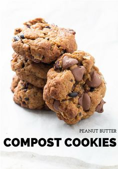 Chewy peanut butter compost cookies made with chocolate chips, coconut, crushed Chex cereal & pecans. Use up those bits & pieces hiding in your pantry!