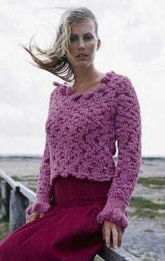 Kuscheligen Pullover mit U-Boo Ausschnitt stricken, Modell des Monats 2004 / #knitting pattern for a comfy pullover for her via lanagrossa.de