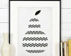 Fruit retro poster kitchen art red apple minimalist by EmuDesigns