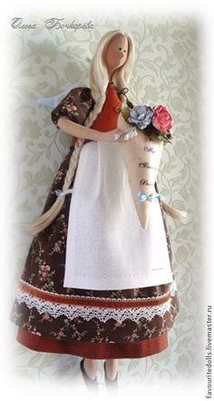 Купить Тильда. Домашняя фея. - коричневый, небесно-голубой, охра, бежевый, шоколад, тильда
