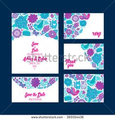 Wedding Invitation template, save the date, invitation and  envelope, thank you card. Wedding set. RSVP card. Marriage event. Valentine day design.