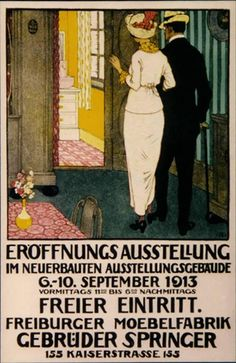 An elegant advertisement for a home decoration exhibit in Switzerland (1913) by Burkhard Mangold (1873-1950), Swiss-born - studied in both Paris and Munich, where he was influenced by the Jugendstil (the German equivalent of Art Nouveau) artists of the day. He is considered one of the masters of Swiss poster art (1st dibs)