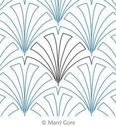 Digital Quilting Design Palm by Marci Gore. Quilting Templates, Machine Quilting Designs, Quilt Patterns, Stitch Patterns, Longarm Quilting, Free Motion Quilting, Quilting Tips, Fabric Paint Designs, Quilt Stitching