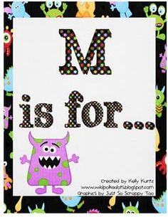 Monster activities for the letter M, also check busy baskets on the same blog