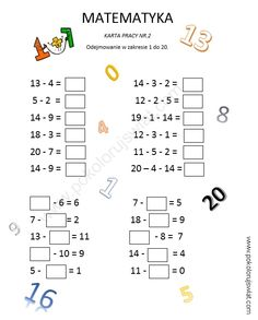 Karta pracy ucznia- odejmowanie w zakresie 1-20