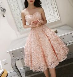 Formal dresses for teens - Cute Pink Floral Lace Short Sweetheart Romantic Party Dress, Teen Formal Dress – Formal dresses for teens Elegant Homecoming Dresses, Formal Dresses For Teens, Beautiful Prom Dresses, Trendy Dresses, Elegant Dresses, Evening Dresses, Fashion Dresses, Dress Formal, Sexy Dresses