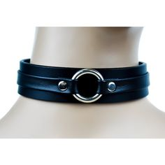 Black Leather With Black Strap & O Ring Choker Necklace Collar 1 Wide Well made - Real leather. Heavy Duty Buckle Closure and eyelets Choker is 1 inch wide Adjustable from to 17 inches. Leather Collar, Collar And Cuff, Collar Necklace, Leather Harness, Leather Buckle, O Ring Choker, Collars Submissive, Slave Collar, Black Leather