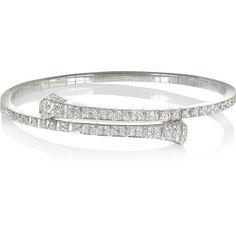 Gucci 18-karat white gold diamond bracelet ($13,200) ❤ liked on Polyvore featuring jewelry, bracelets, accessories, pulseiras, rings, silver, sparkle bracelet, pandora jewelry, diamond bracelet and jade bangle