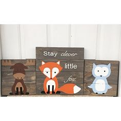 10x14 Set of 3 Woodland Animal Nursery Signs Nursery Decor Baby Shower Gift or Baby Decor