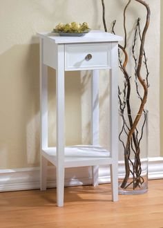 "Small 12"" White Sofa End Side Bedside Table Nightstand Drawer Shelf Plant Stand"