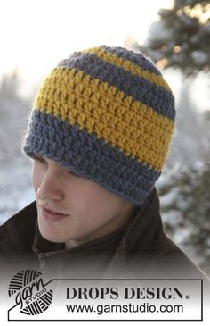 Crochet hat - free unisex, child/adult, super chunky crochet pattern by DROPS design. Chunky Crochet Hat, Crochet Adult Hat, Crochet Men, Bonnet Crochet, Crochet Patron, Crochet Beanie Pattern, Free Crochet, Knitted Hats, Simple Crochet