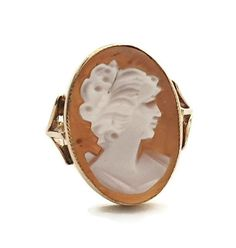 Vintage Victorian Style Ladies Agate Cameo Ring in 9 ct Yellow Gold FREE POSTAGE Included by GloryBeVintageWares on Etsy