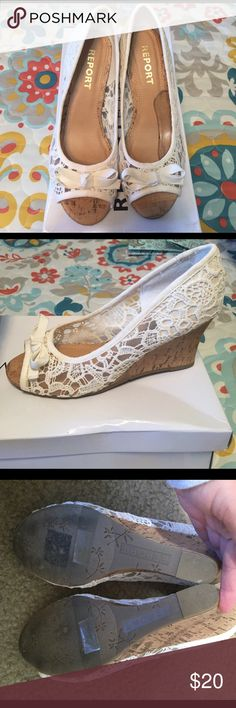EUC Peep toe lace wedges! Super cute lace peep toe wedges Report Footwear from Francescas! Only worn twice. Selling because they are to big on me! Report Shoes Wedges