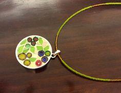 Modern flowers pendant, millefiori and mosaic