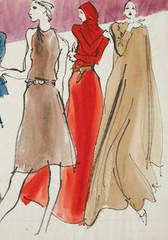 halston fashion by kenneth paul block Fashion Dolls, Fashion Art, Vintage Fashion, Christopher Niquet, Drawn Together, Fashion Sketches, Fashion Illustrations, Illustrators, Classic Style