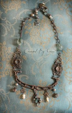 Sea Dreams - vintage assemblage necklace chatelaine victorian hardware aqua blue rhinestones mother of pearl tulip beads crowned by grace