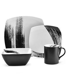 Mikasa Dinnerware, Brushstroke Square 4 Piece Place Setting - Casual Dinnerware - Dining & Entertaining - Macy's