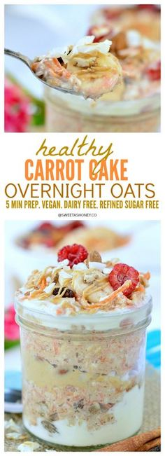 Carrot Cake Overnight Oats. A delicious healthy clean eating breakfast with only 5 minutes preparation. Let's bring dessert for breakfast! Vegan. Dairy free. Refined sugar free.