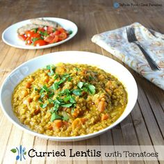 A mild, savory dish of curried lentils. A clean eating, whole food recipe. No processed ingredients.